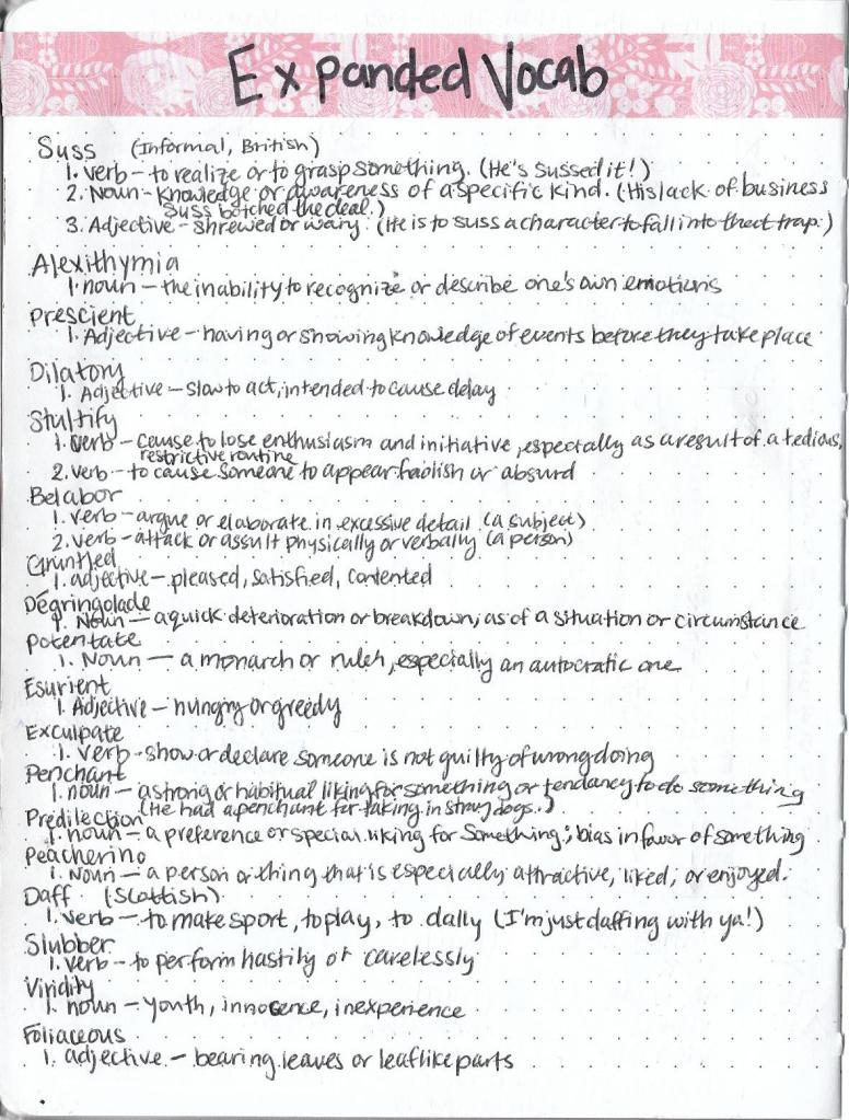 Bullet Journal Vocabulary List